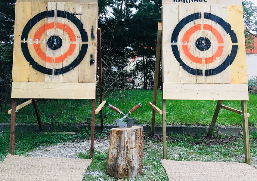 axe throwing team building targets